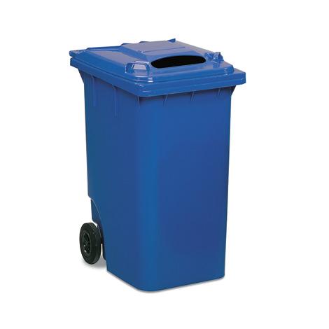 2-Rad-Kunststoff-Großmülltonne mit Einwurf, 360 Liter, blau