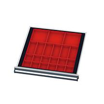 21 Kleinteilkästen und Distanzschienen für Schubladen, BxT mm 500x450 mm