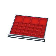 21 Kleinteilkästen und Distanzschienen für Schubladen, BxT mm 600 x 450