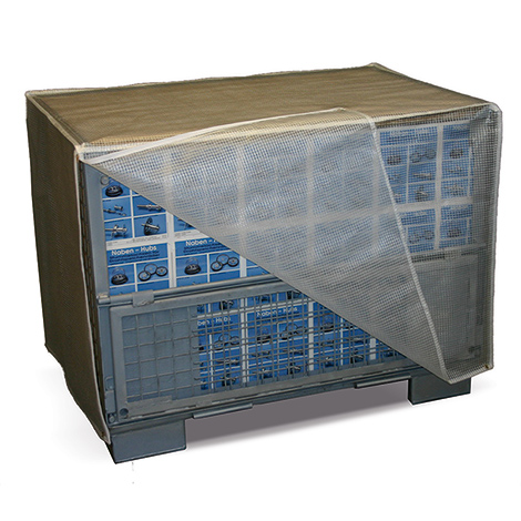 Abdeckhaube für Gitterboxen mit Reißverschlüssen
