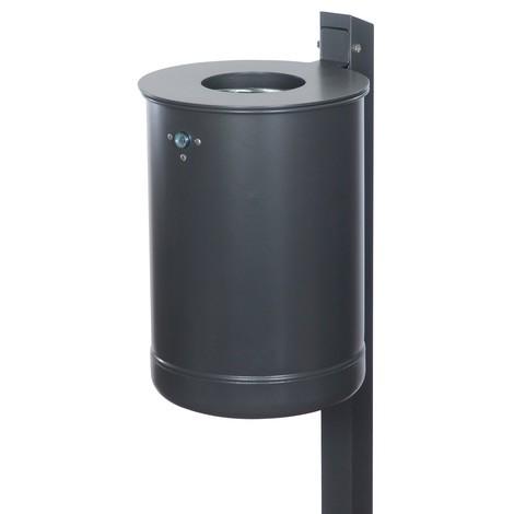 Abfallbehälter aus Stahl, 50 Liter, mit Ascher, Wandmontage