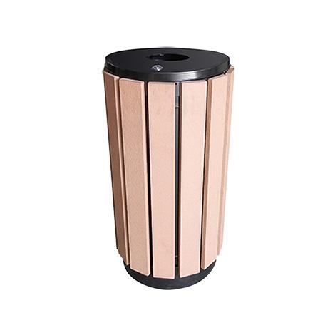Abfallbehälter Esterno , rund mit Holzapplikationen
