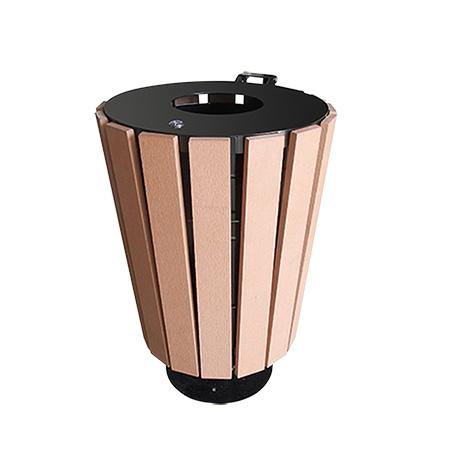 Abfallbehälter Exterieur , rund mit Holzapplikationen