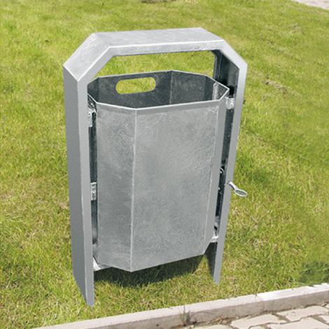Abfalleimer Achteck, feuerverzinkt, 40 Liter