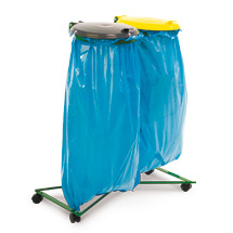 Abfallsackhalter, Doppelsammler, Kunststoffdeckel, Rollen, beschichtet