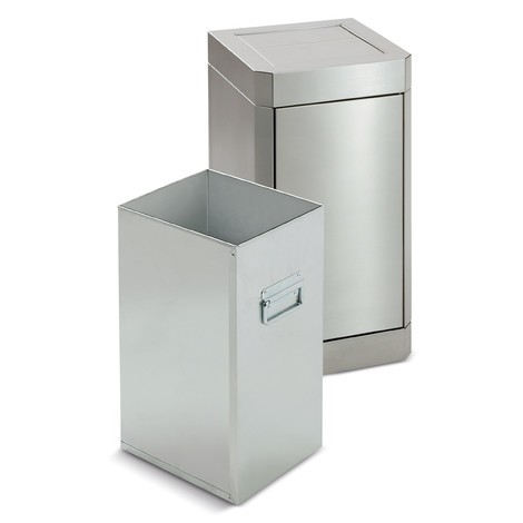 Abfallsammler stumpf® aus Edelstahl mit Schwingdeckel