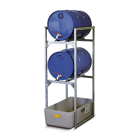 Abfüllregal für 60-Liter-Fässer und Kleingebinde. GFK-Auffangwanne
