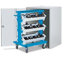abschließbarer Schrank für CNC-Werkzeugwagen, lichtgrau