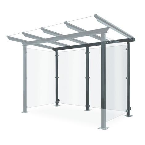 Achterwand voor overkapping van glas en staal