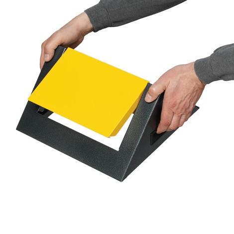 Affaldssorteringsbeholderen VAR®, 60 liter, selvslukkende, af galvaniseret og pulverlakeret stål, låg kantet