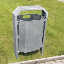 Afvalbak achthoekig, vuurverzinkt of met poedercoating, 40 l