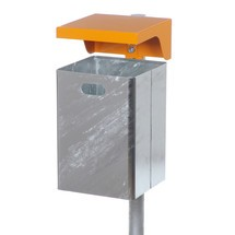 Afvalbak Florence van plaatstaal, met beschermkap, 50 l, met en zonder asbak