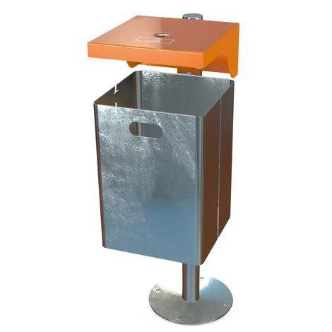 Afvalbak met beschermdak en asbak, plaatstaal