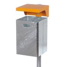 Afvalbak met beschermdak, plaatstaal