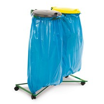 Afvalzakhouder, dubbele afvalverzamelaar, kunststof deksel, wielen, gecoat