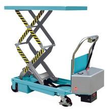 Akumulatorowy nożycowy wózek z unoszonym stołem Ameise. Udźwig 350kg.