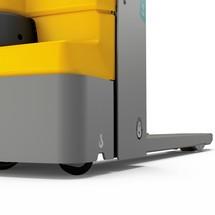 Akumulatorowy unoszacy wózek widłowy JH EJE M15. Udźwig 1500 kg. Rozstaw wideł 670 mm. Długość wideł 1000 mm.