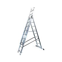 Alu-Schiebeleiter Mehrzweckleiter, Wahlweise von 3x6 bis 3 x12 stufig
