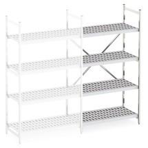 Aluminium-Regal mit Kunststoff-Gitterböden, Anbaufeld, Feldlast 600 kg