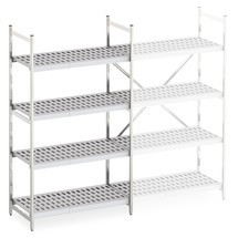Aluminium-Regal mit Kunststoff-Gitterböden, Grundfeld, Feldlast 600 kg