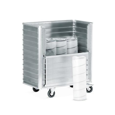 Aluminiumskassevogn med væg, der kan klappes halvt ned
