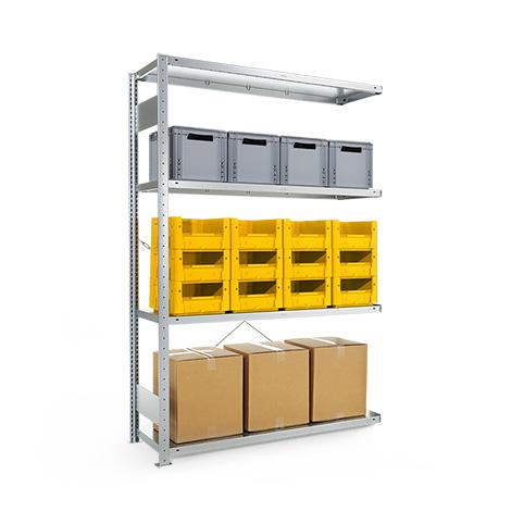 Anbaufeld für Weitspannregal Stecksystem einzeilig. Fachlast 230kg, verzinkt