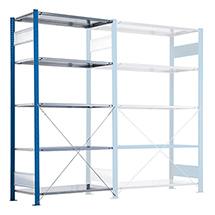 Anbaufelder für Fachbodenregal, Fachl. bis 330 kg. Tiefe v. 300-800mm,blau/verz.