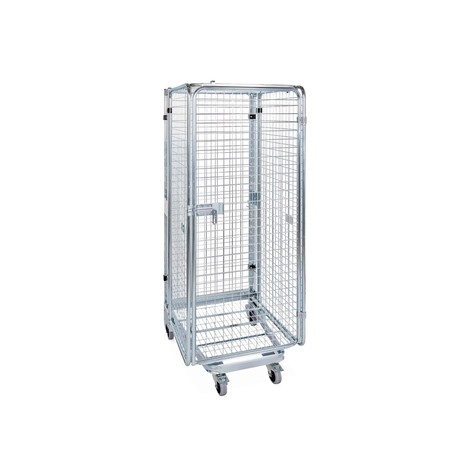 Anti-theft roll container, with steel base, nestable