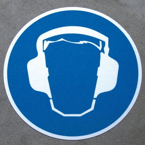 Antypoślizgowy znak podłogowy m2- – Gehörschutz tragen (Stosować ochronę słuchu)