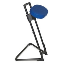 Apoio de pé com assento giratório de couro sintético