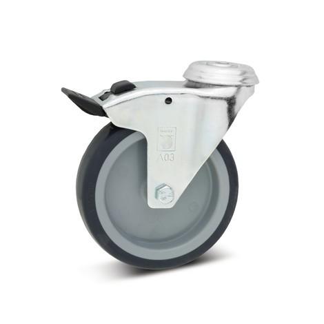 Apparaterolle Wicke TPU, Lenkrolle, Gleitlager, inkl. Feststeller, mit Rückenloch