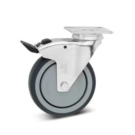 Rollensatz 2 Lenkrollen mit Feststeller 2 Bockrollen 75 mm Thermoplastisches GummiApparaterolle