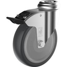 Apparaterolle Wicke TPU, Lenkrolle, Kugellager, inkl. Feststeller, mit Rückenloch