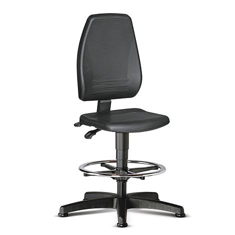 Arbeits-Drehstuhl bimos. Fußring + extra hohe Rückenlehne. Sitzhöhe 580 - 850 mm