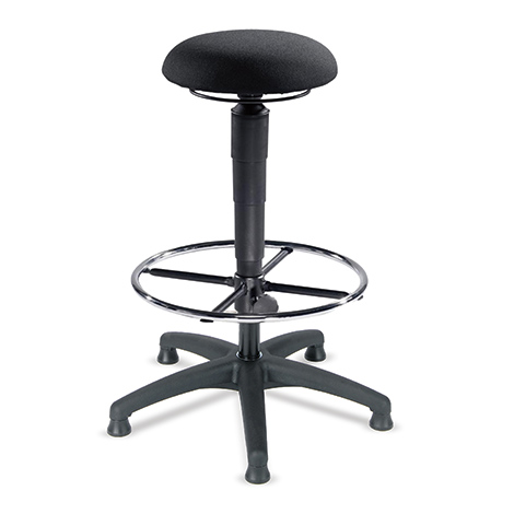 Arbeitsdrehhocker, Gasfeder, Kunststofffußkreuz, Gleiter. Leder oder Stoff-Sitz