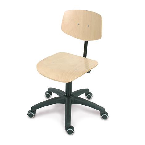 Arbeitsdrehstuhl, Drehspindel, Kunststoffkreuz, Buche oder PU mit Rollen