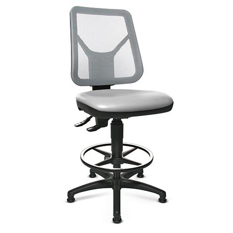 Arbeitsdrehstuhl, extra hohe Netz-Lehne, Kunststoffkreuz mit Gleitern, Sitz PU