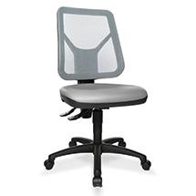 Arbeitsdrehstuhl, extra hohe Netz-Lehne, Kunststoffkreuz mit Rollen, Sitz PU