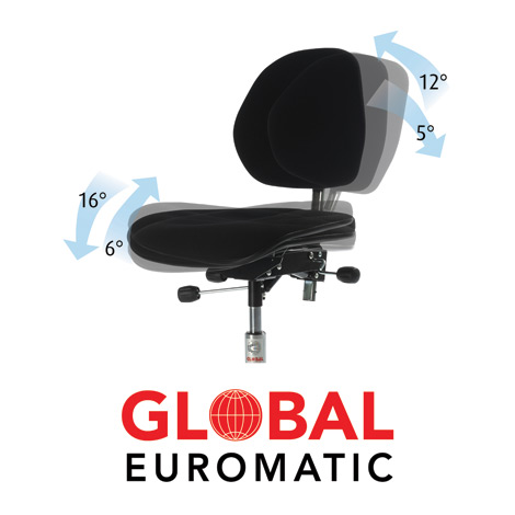 Arbeitsdrehstuhl, Gasfeder, Kunststoff-Fußkreuz, PU-Formsitz, Bodengleiter
