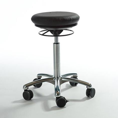Arbeitshocker Pilates. Kunstledersitz. Gasfeder-Höhenverstellung