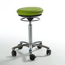 Arbeitshocker Pilates. Sitzbezug Stoff. Gasfeder-Höhenverstellung