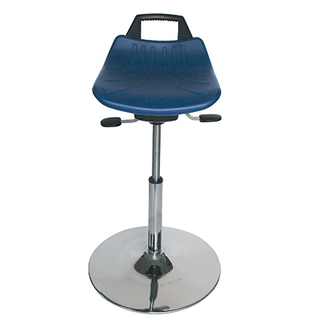 Arbeitshocker Premium. Gasfeder-Höhenverst.. Sitz PU/PP mit Griff. Tellerfuß