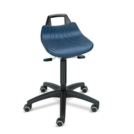 Arbeitshocker Premium. Gasfeder-Höhenverstellung. Sitz PU oder PP mit Griff
