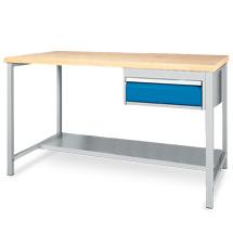 Arbeitstisch mit Ablage + 1 Schublade. Breite 1500 oder 2000 mm