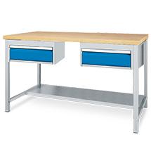 Arbeitstisch mit Ablage + 2 Schubladen. Breite 1500 oder 2000 mm