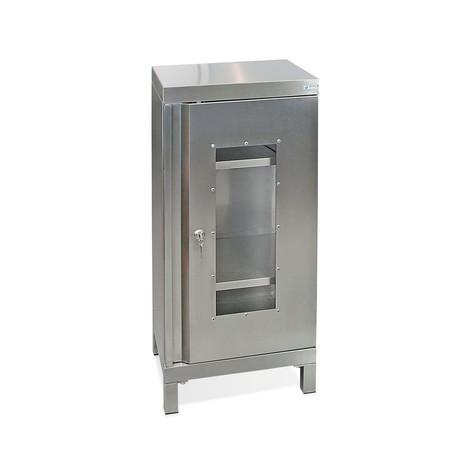 Armadio in acciaio inox stumpf® con finestra d'ispezione, piedini quadrati e viti di regolazione