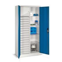 Armoire à outils C+P, tiroirs 16x86mm, 4tablettes + compartiment pour objets de valeur, largeur 1200 mm