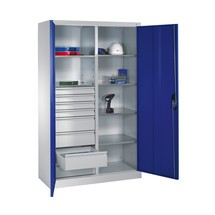Armoire à outils C+P, tiroirs 4x86 + 4x174mm, 6tablettes, largeur 1200mm