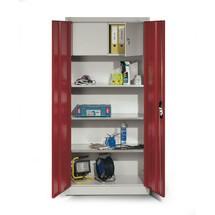 Armoire à portes battantes d'atelier C+P avec compartiment pour objets de valeur + 3tablettes, HxlxP 1950x930x400 mm