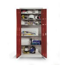 Armoire à portes battantes d'atelier C+P avec petit compartiment + 2tablettes, HxlxP 1950x1200x500mm